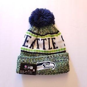NWT New Era NFL Seattle Seahawks Pom Knit Beanie